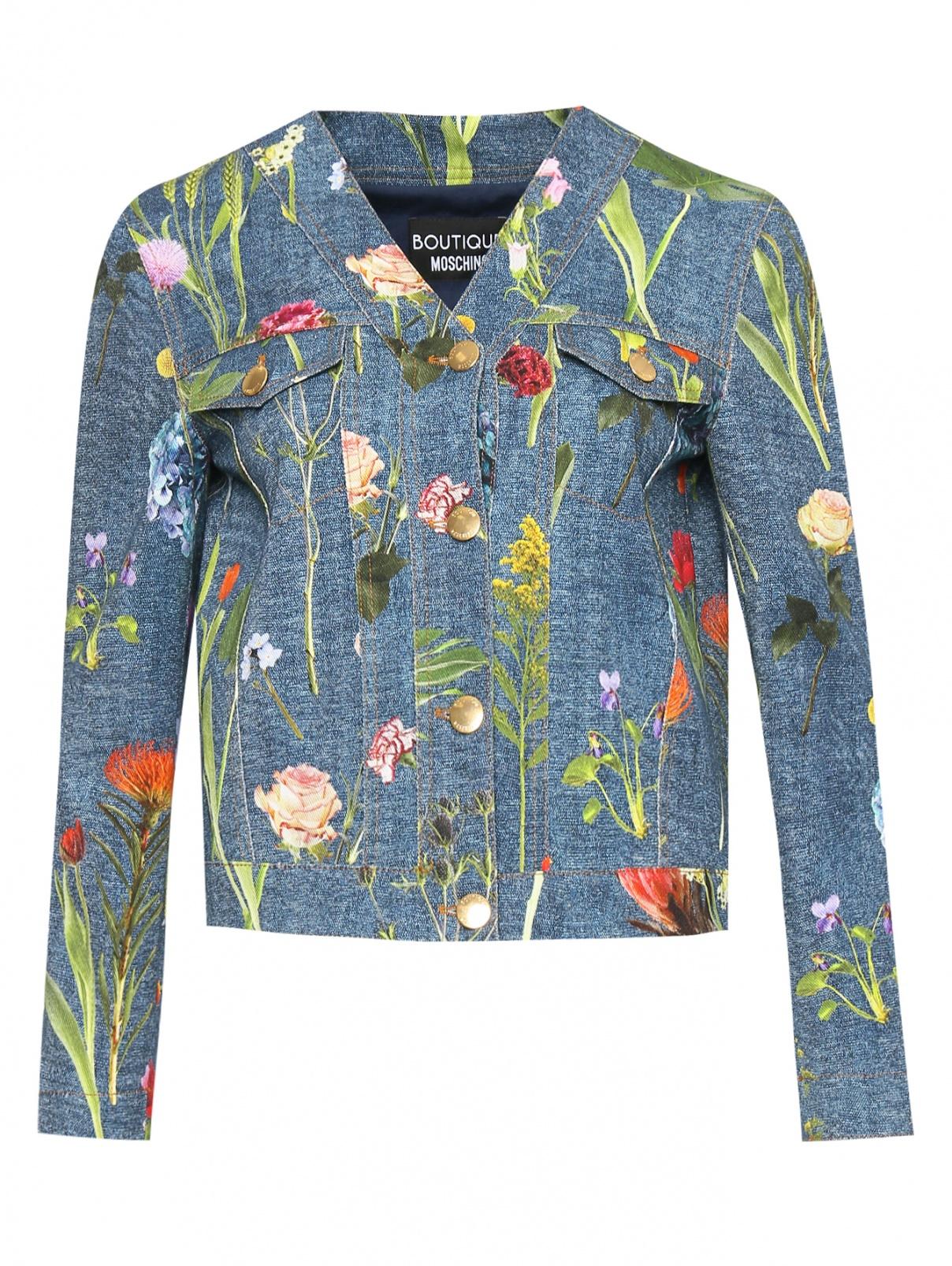 Джинсовый жакет с цветочным узором Moschino Boutique  –  Общий вид