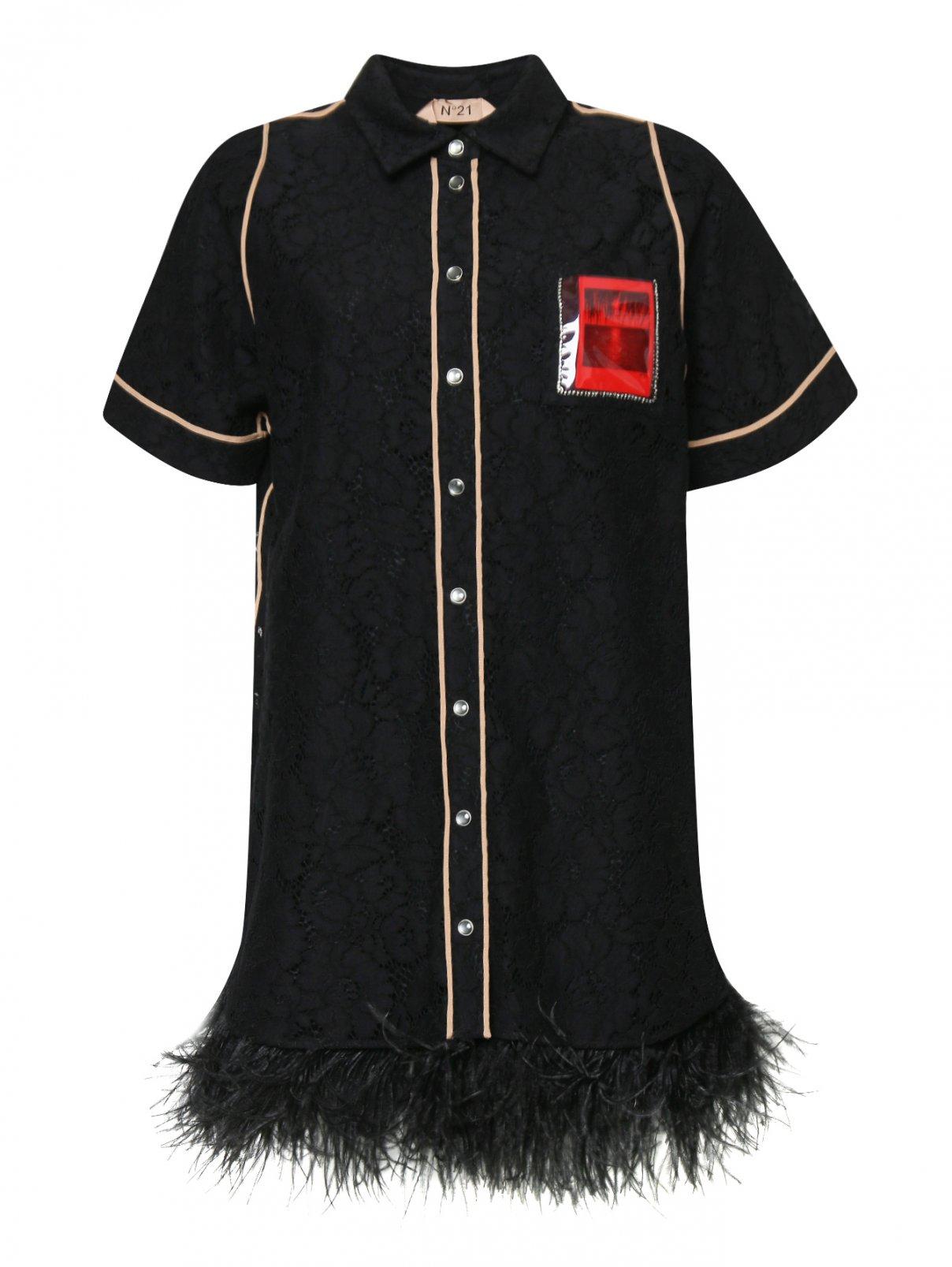 Платье-мини с декоративной отделкой из перьев N21  –  Общий вид