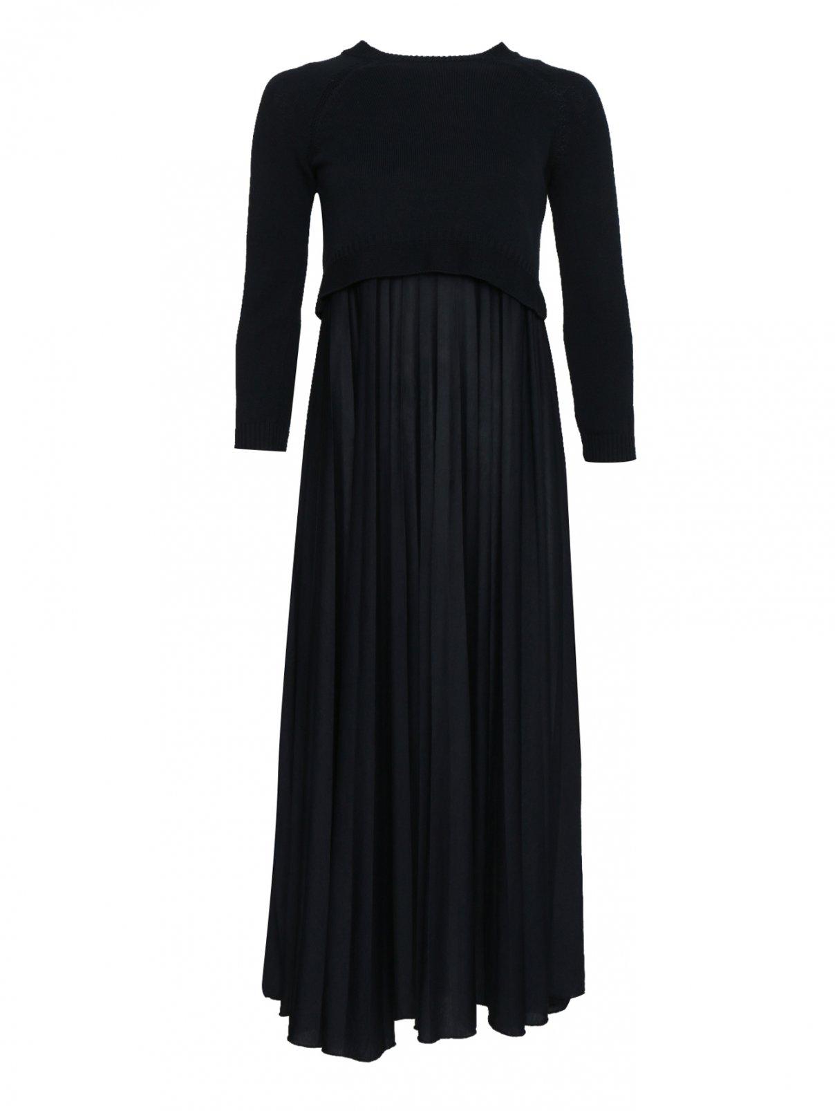 Платье трикотажное из хлопка, с юбкой плиссе Weekend Max Mara  –  Общий вид