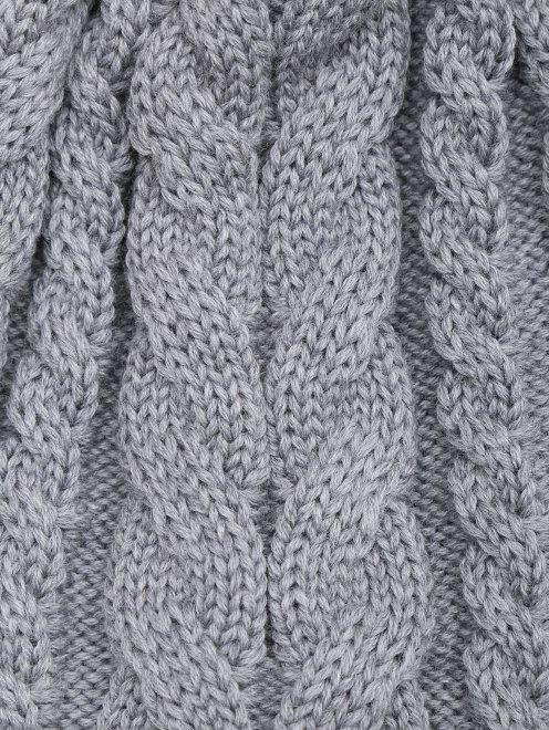 Шапка из шерсти фактурной вязки Catya - Деталь1