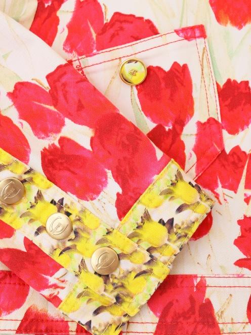 Укороченный жакет из хлопка, с цветочным узором - Деталь1