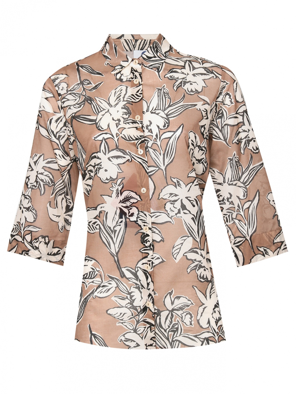 Рубашка из хлопка с узором Marina Rinaldi  –  Общий вид