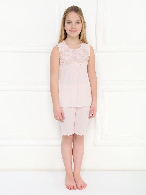 Пижама трикотажная с кружевным декором La Perla - МодельОбщийВид1