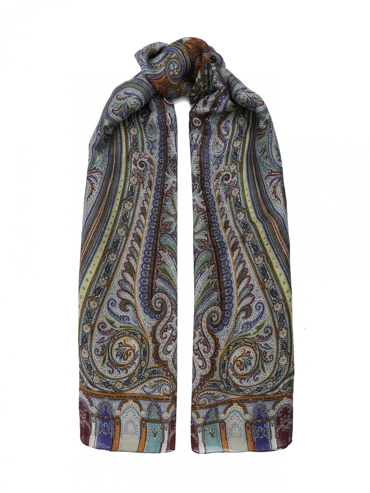 Шарф из льна и шелка с принтом Etro  –  Общий вид