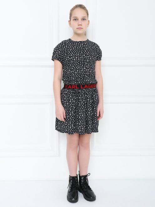 Платье трикотажное с принтом - МодельВерхНиз