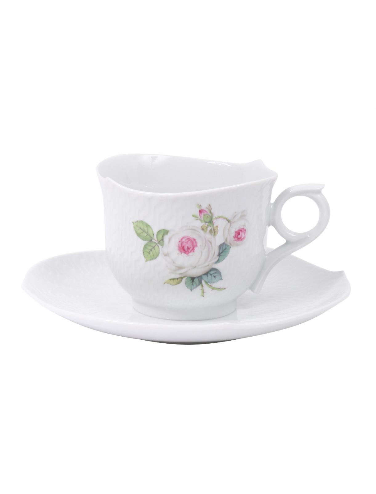 Чайная чашка из фарфора с блюдцем с цветочным узором Meissen  –  Общий вид