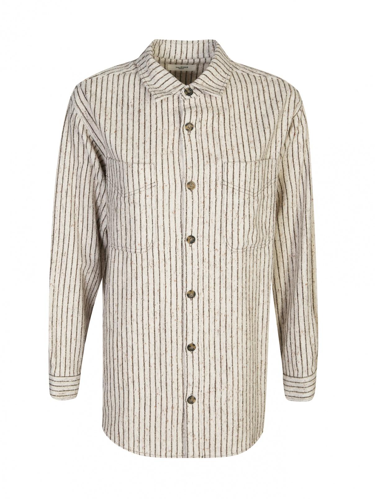 Рубашка из фактурного смесового хлопка в полоску Isabel Marant  –  Общий вид