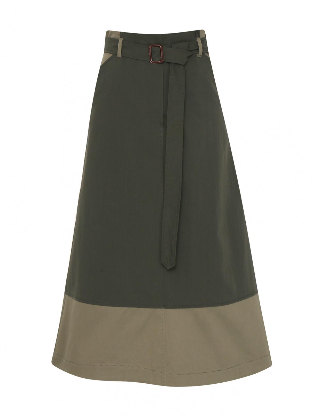 Юбка-миди из смешанного хлопка с карманами Weekend Max Mara  –  Общий вид