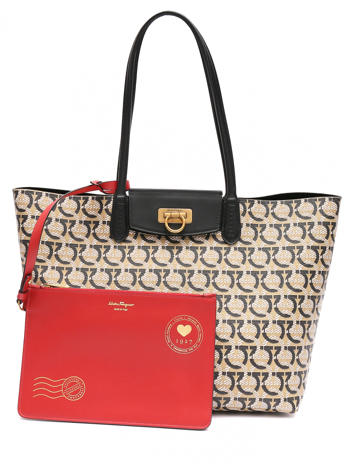 Комбинированная сумка с монограммой Salvatore Ferragamo  –  Общий вид