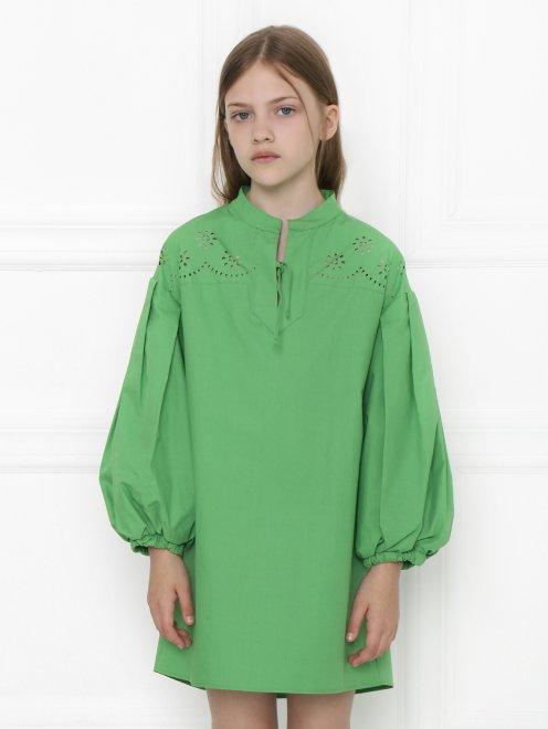 Платье хлопковое с объемными рукавами - МодельВерхНиз