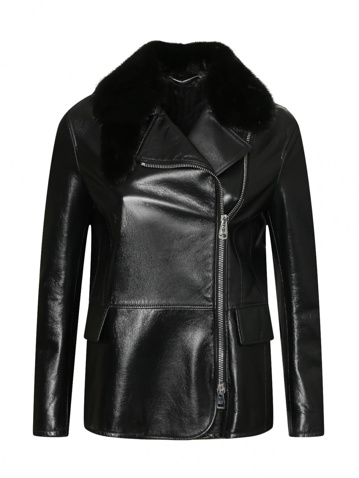 Куртка из кожи с воротником из меха норки Ermanno Scervino  –  Общий вид