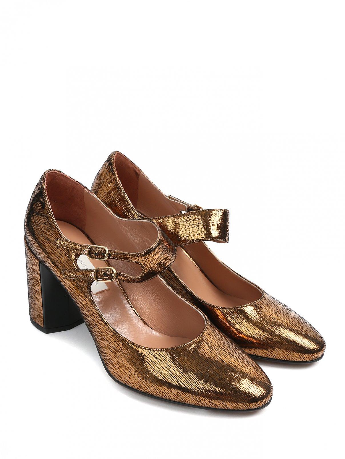 Туфли на устойчивом каблуке из кожи металлик L'Autre Chose  –  Общий вид