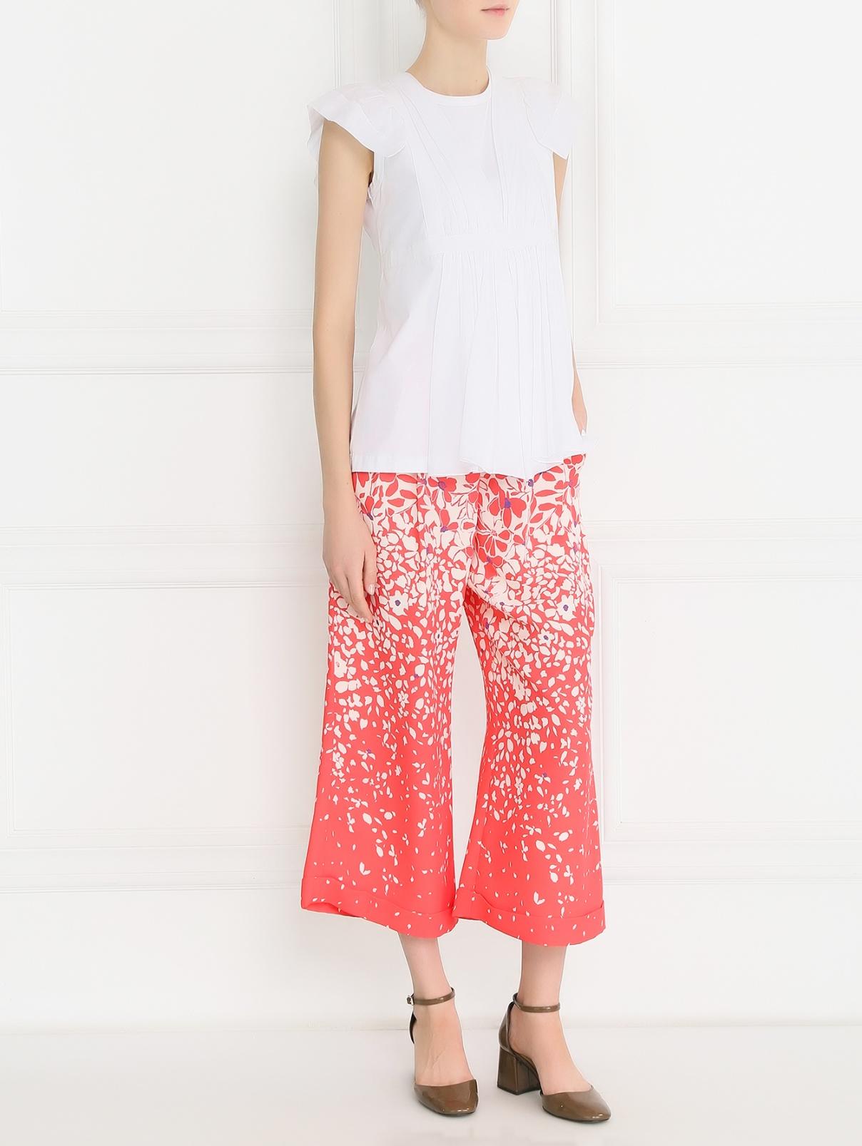 Укороченные брюки с цветочным узором Pianoforte  –  Модель Общий вид