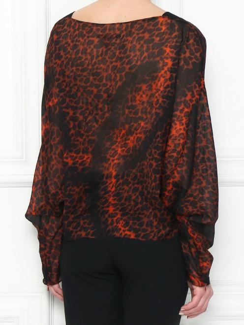 Блуза из шелка с анималистичным узором - МодельВерхНиз1