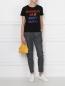 Футболка хлопковая с вышивкой пайетками Alice+Olivia  –  МодельОбщийВид