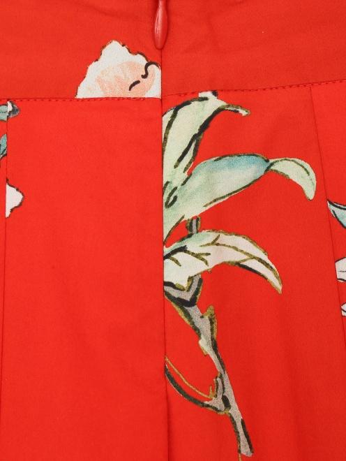 Юбка-трапеция из хлопка с цветочным принтом Paul&Joe - Деталь