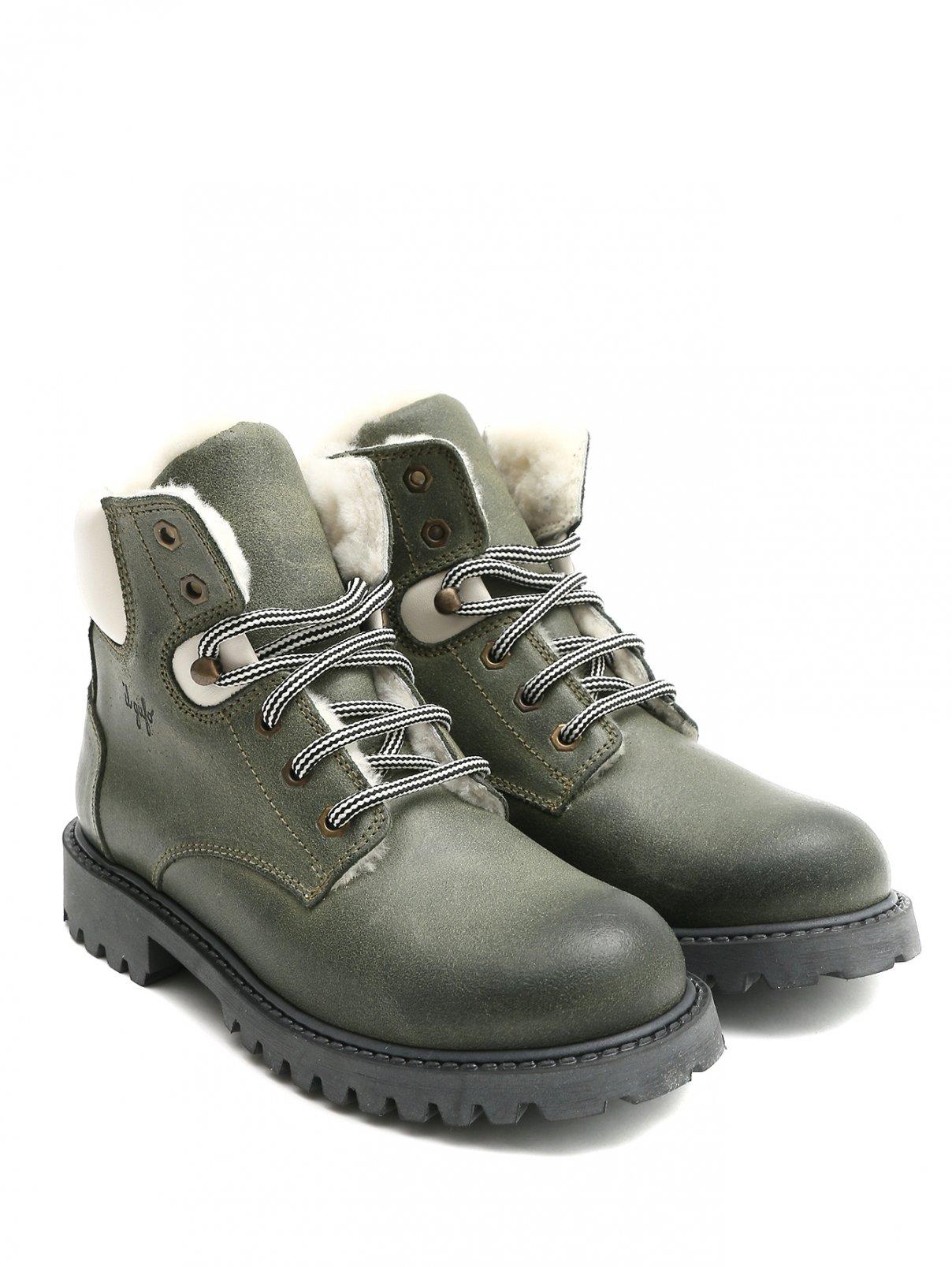Ботинки кожанные с мехом на шнуровке Il Gufo  –  Общий вид