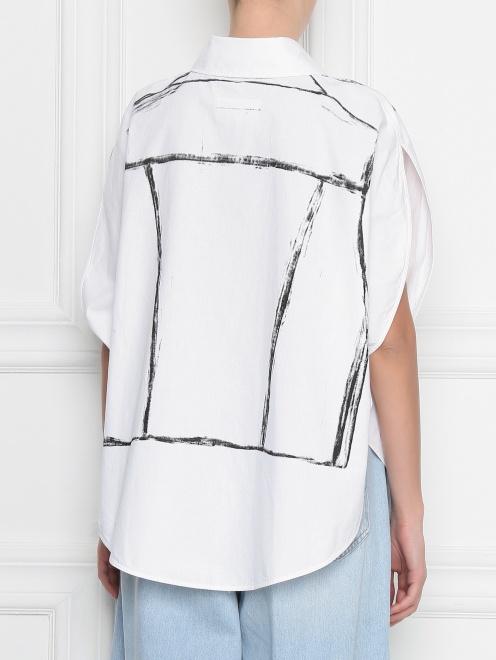 Блуза из хлопка с узором MM6 - МодельВерхНиз1