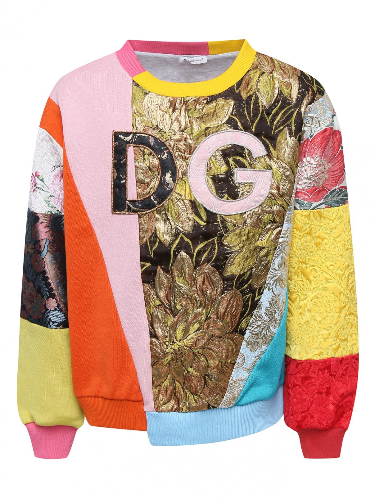 Свитшот из комбинированной ткани с аппликацией Dolce & Gabbana  –  Общий вид