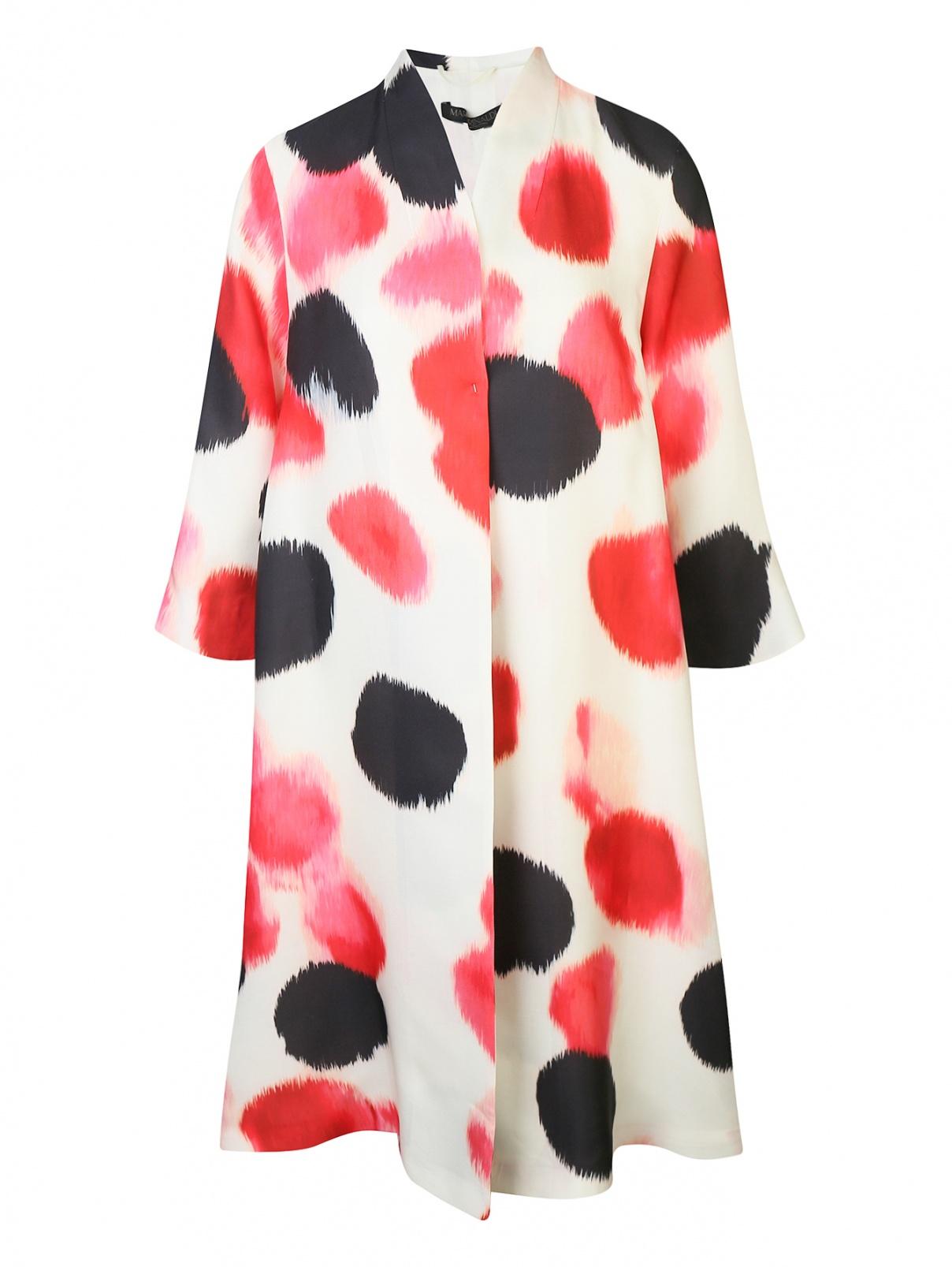 Легкое пальто из смешанного шелка с узором Marina Rinaldi  –  Общий вид