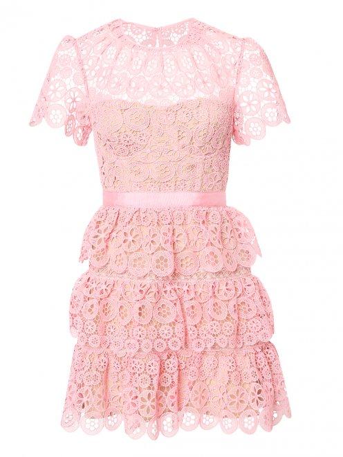 Платье-мини из кружева с короткими рукавами - Общий вид
