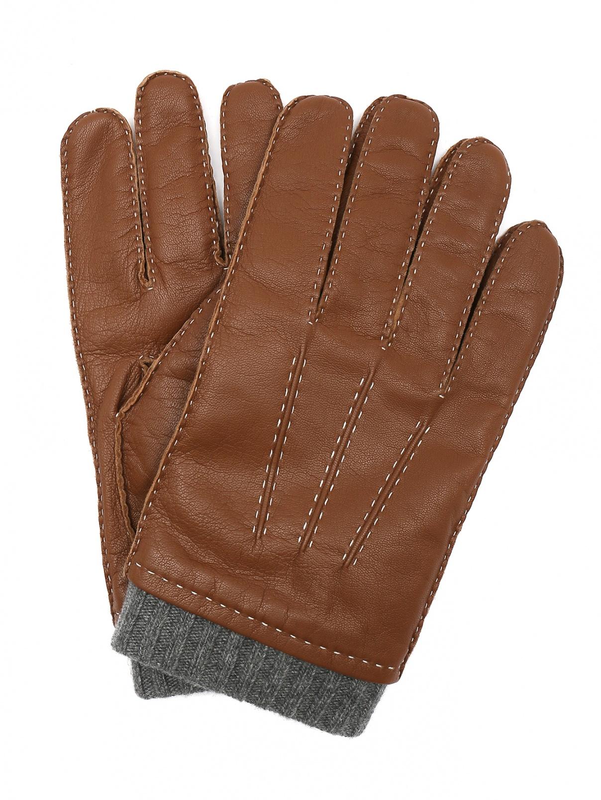 Перчатки из кожи с контрастной отделкой Portolano  –  Общий вид