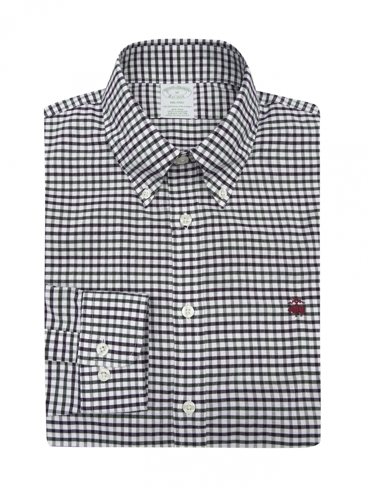 "Рубашка из хлопка с узором ""клетка"" Brooks Brothers  –  Общий вид"
