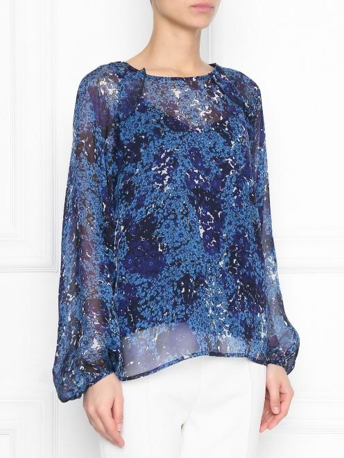 Блуза из шелка с цветочным узором Essentiel Antwerp - МодельВерхНиз