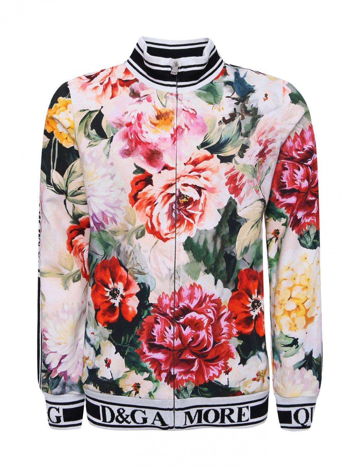 Толстовка хлопковая с цветочным узором Dolce & Gabbana  –  Общий вид