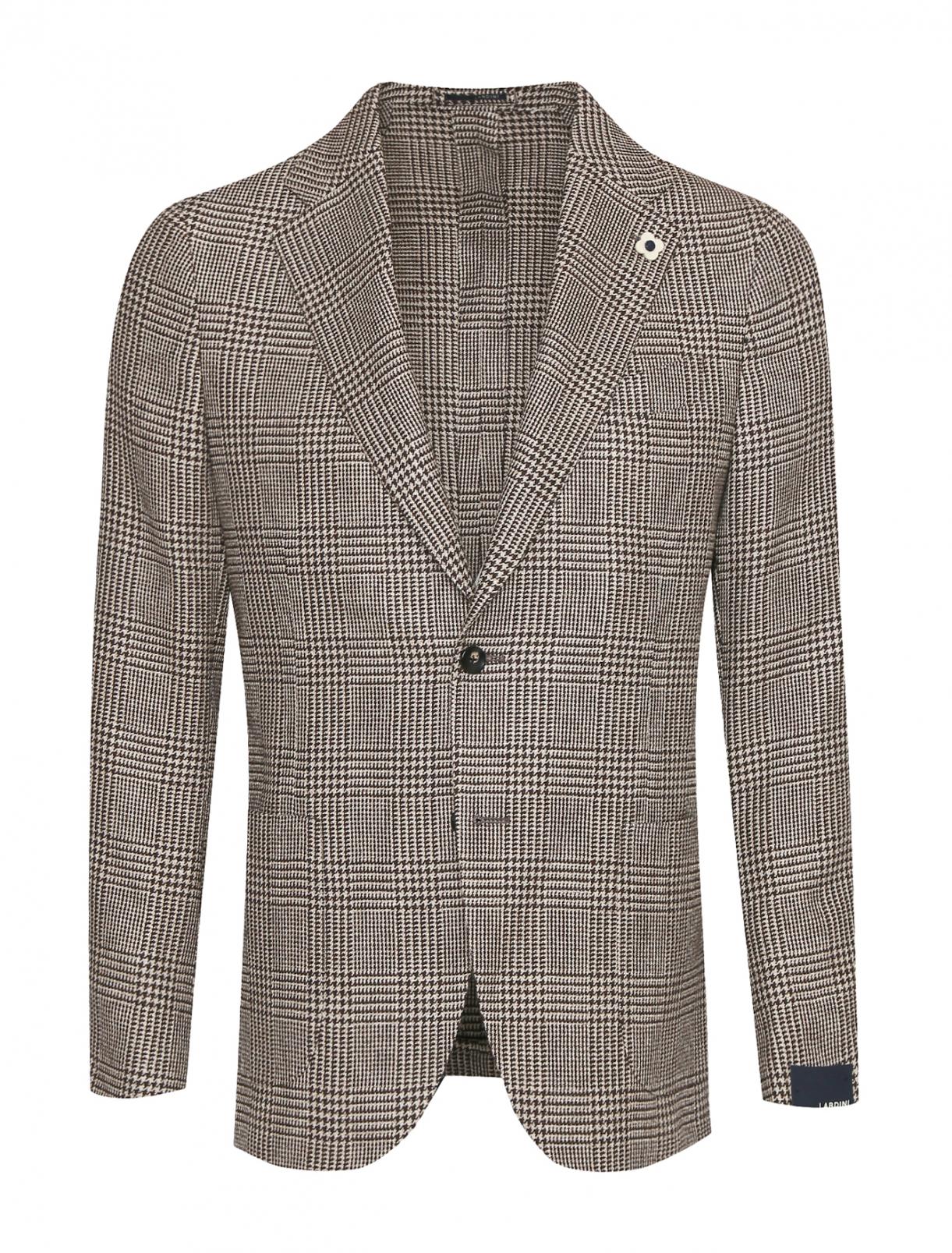 Пиджак из шерсти и льна с узором LARDINI  –  Общий вид