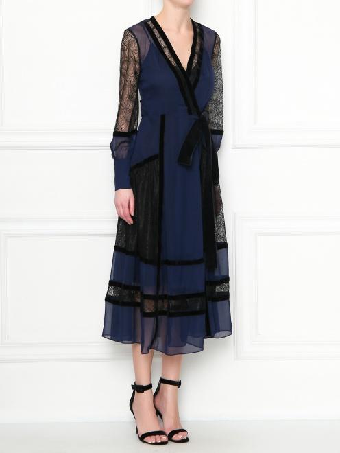 Платье-миди из шелка с кружевной отделкой Diane von Furstenberg - МодельВерхНиз