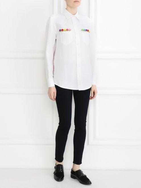 Рубашка изо льна и отделкой из кружева на спине - Общий вид