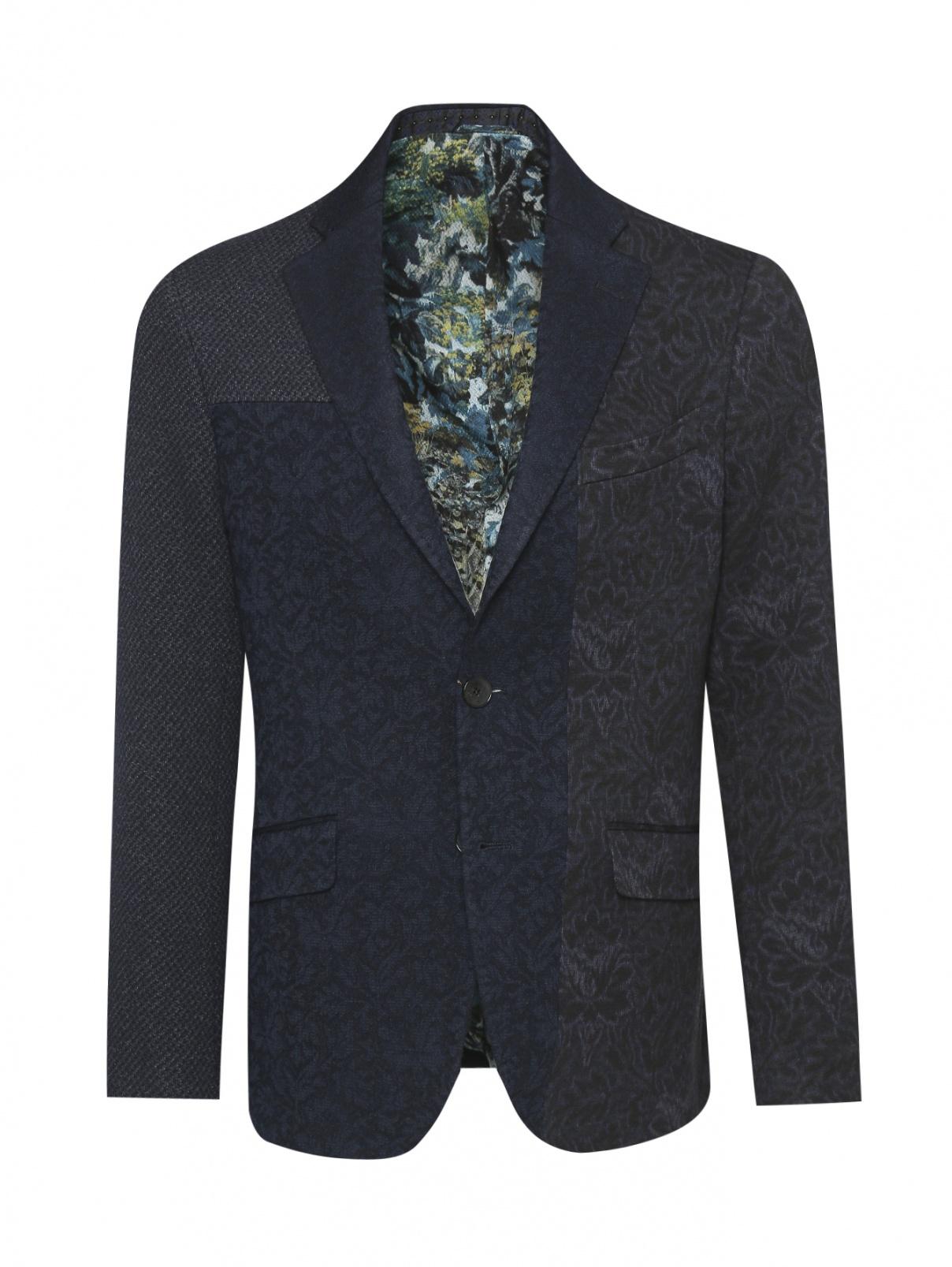 Пиджак однобортный из шерсти и хлопка с узором Etro  –  Общий вид