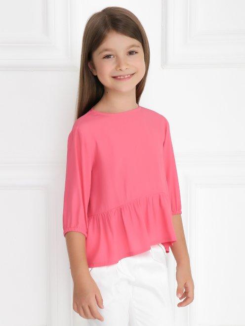 Блуза свободного кроя с баской - Модель Верх-Низ