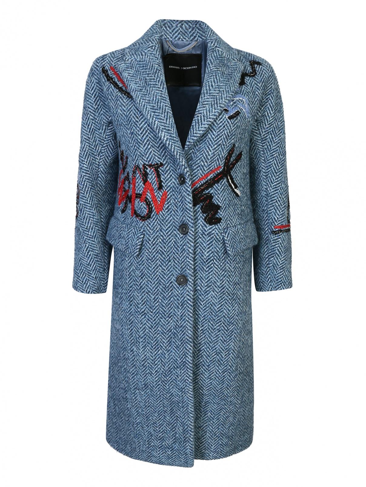 Пальто из шерсти в клетку с вышивкой Ermanno Scervino  –  Общий вид
