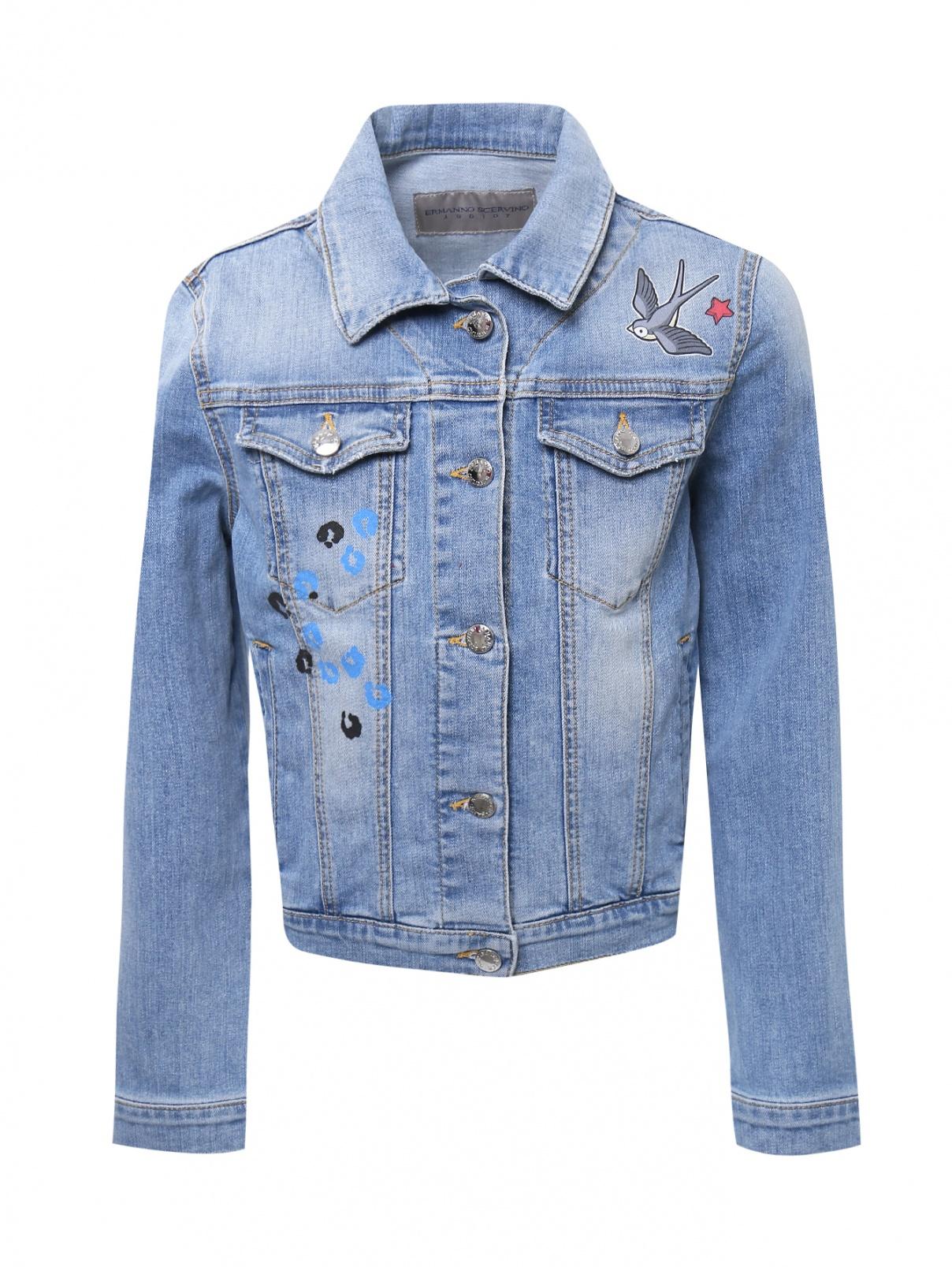 Куртка из денима с принтом на спинке Ermanno Scervino Junior  –  Общий вид