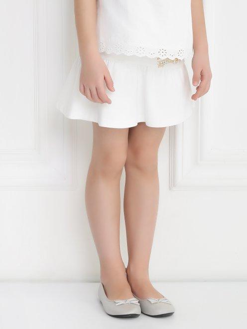 Трикотажная юбка-мини с декором - Модель Верх-Низ