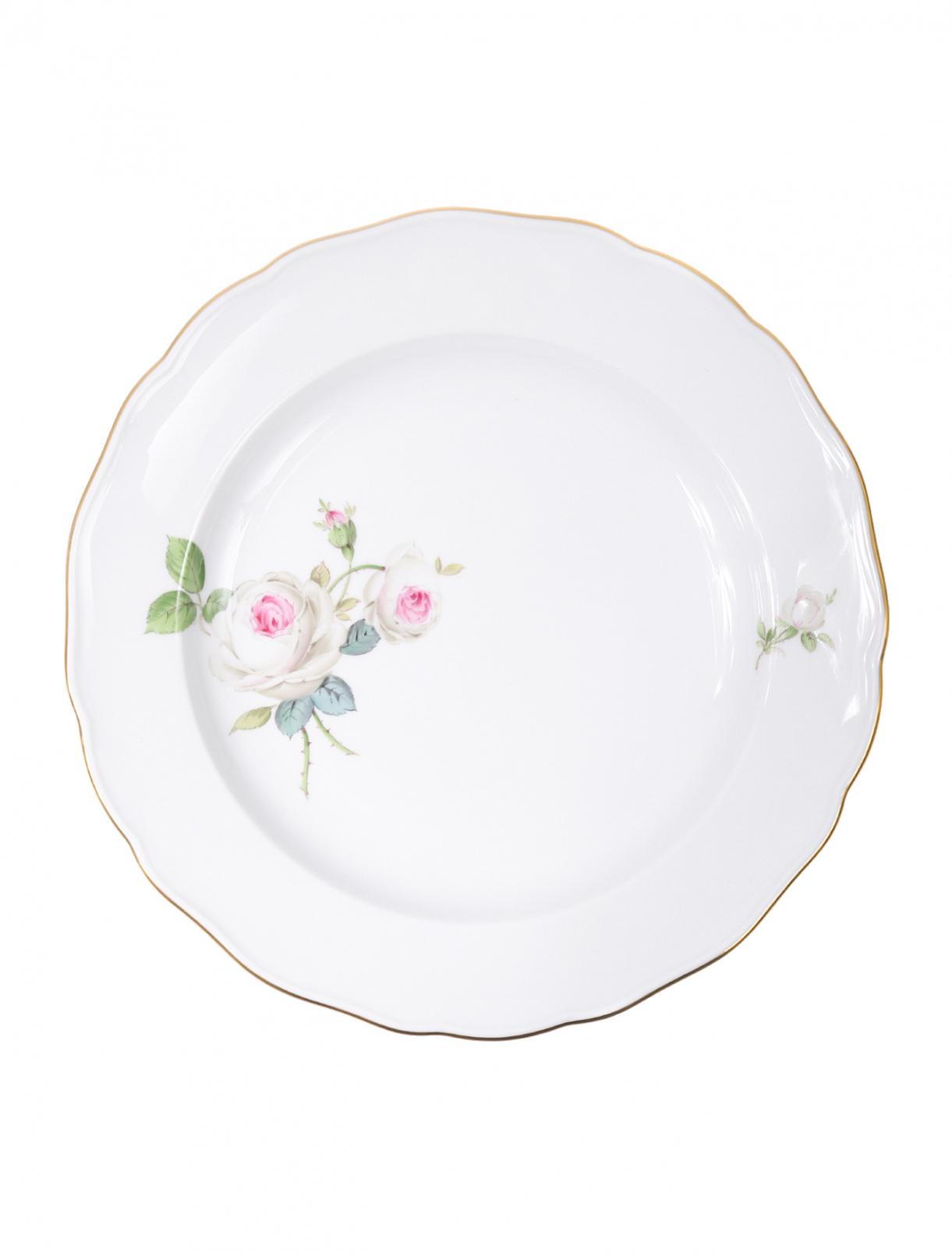 Тарелка обеденная из фарфора с цветочным узором и золотой окантовкой Meissen  –  Общий вид