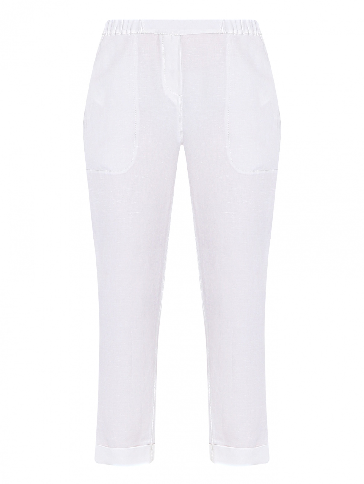 Брюки из смешанного льна на резинке с карманами Marina Rinaldi  –  Общий вид
